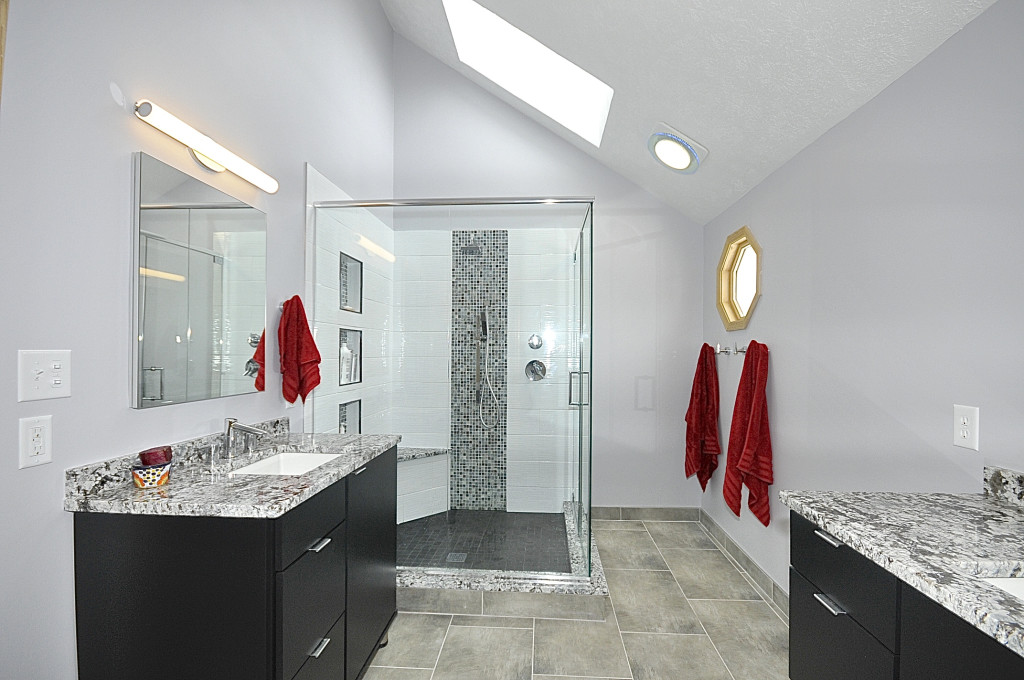walk-in-shower-and-skylight-lighting