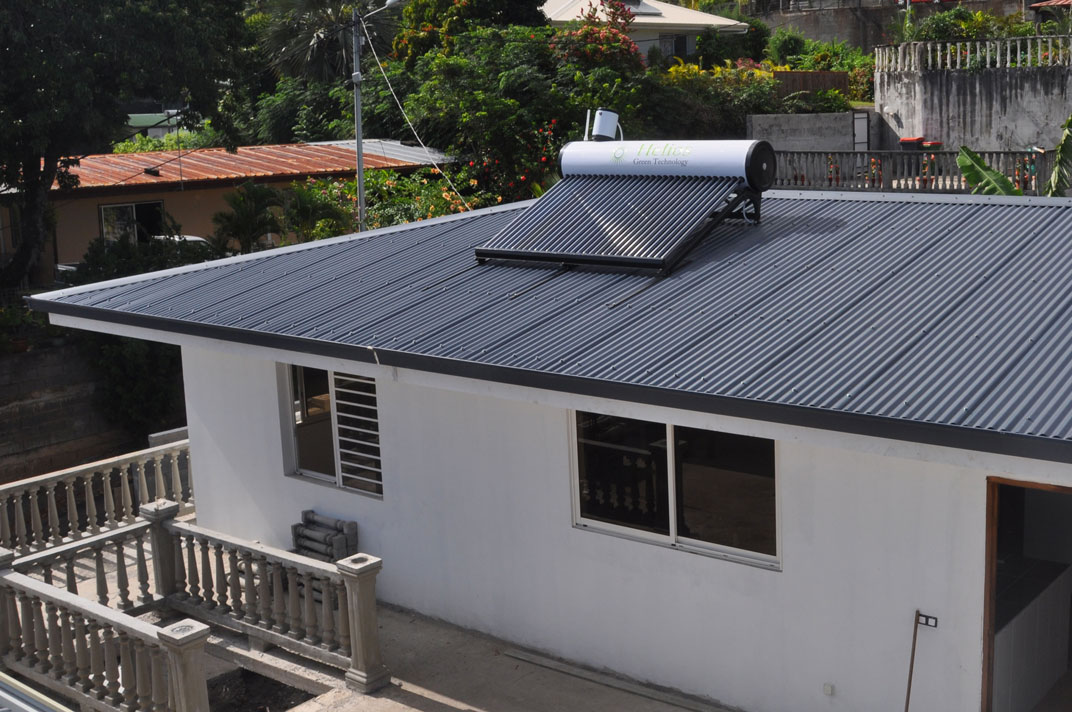 Solar Hot Water System on a Metal Roof