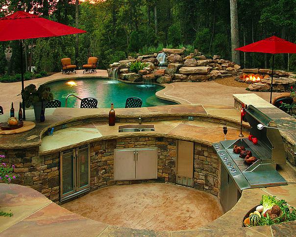 Big curvy outdoor kitchen island