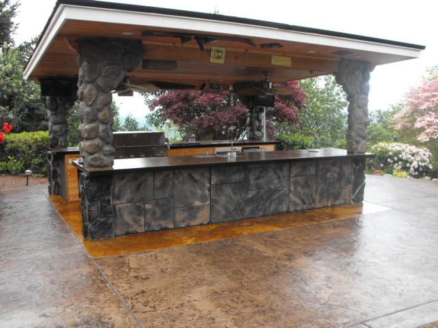 Black outdoor kitchen